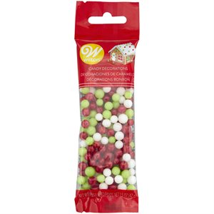 6mm Red, White, Green Candy Decorations