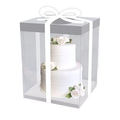 "Clear Square Box w /  White Base 8.5"" x 8.5"" x 9.8"""