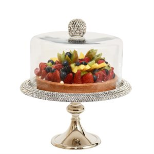 NY Cake Silver Stand w / Diamonds 11""