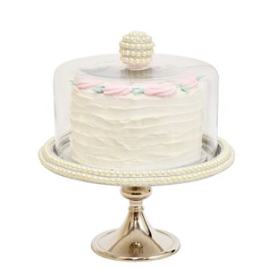 """NY Cake Silver Stand w / Pearls 11"""""""