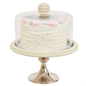 """NY Cake Silver Stand w / Pearls 12 1 / 4"""""""