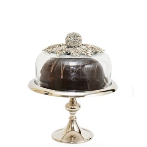NY Cake Silver Stand w / Jeweled Dome 10 1 / 2""