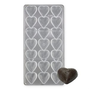Grooved Heart Polycarbonate Chocolate Mold