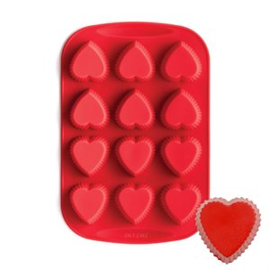 Mini Fluted Heart Silicone Baking Pan