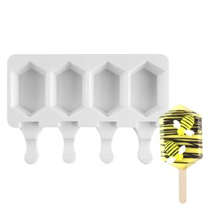 """Silicone Mold for Cakesicles, """"Hexagon Gem"""" - 4 Cavity"""