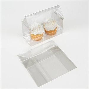 "Mini Cupcake Bag Holds 2 Cupcakes 5"" x 2 1 / 4"" x 5"" Pack of 100"