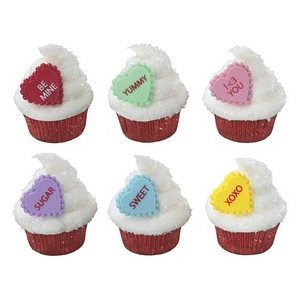 Conversation Hearts Cupcake Rings