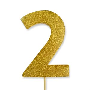 Gold Glitter Number 2 Candle 4""