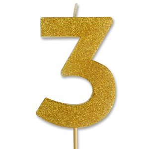 Gold Glitter Number 3 Candle 4""