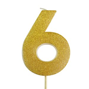 Gold Glitter Number 6 Candle 4""