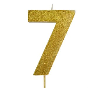 Gold Glitter Number 7 Candle 4""