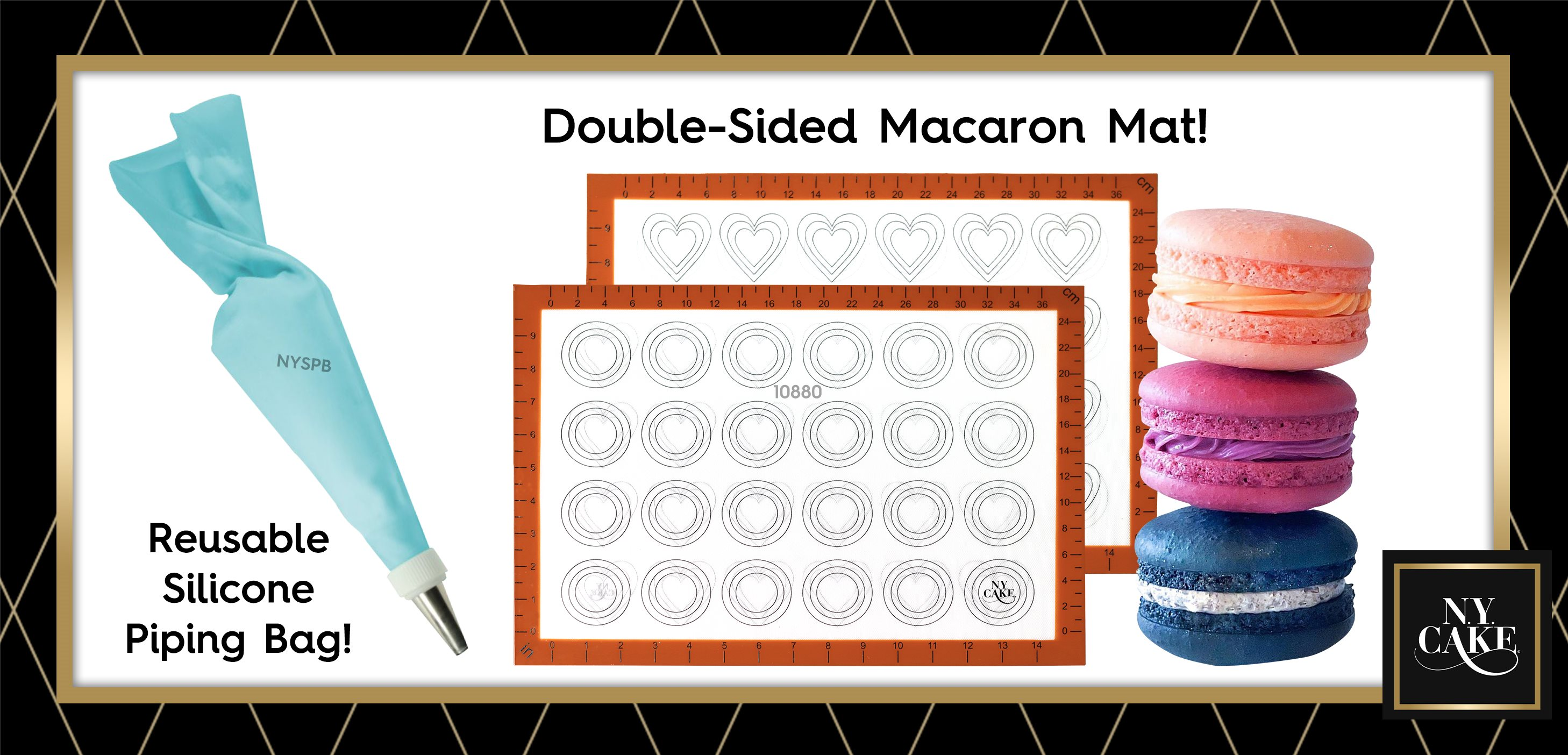 Double Sided Macaron Mat Round Heart Silicone Piping Bags