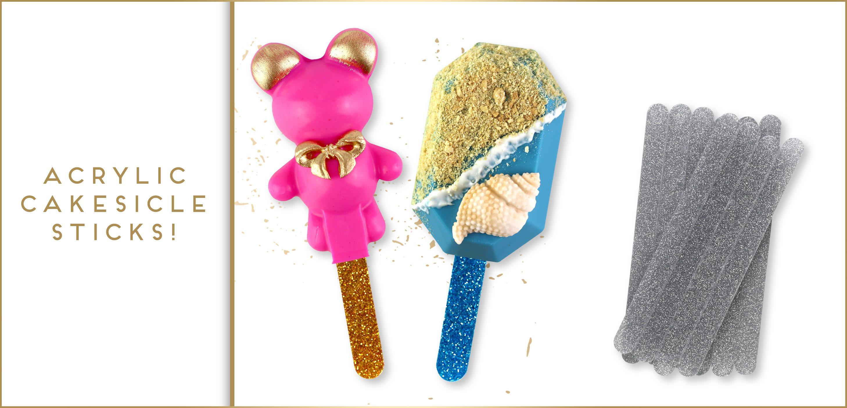 Acrylic Glitter Cakesicle Popsicle Sticks