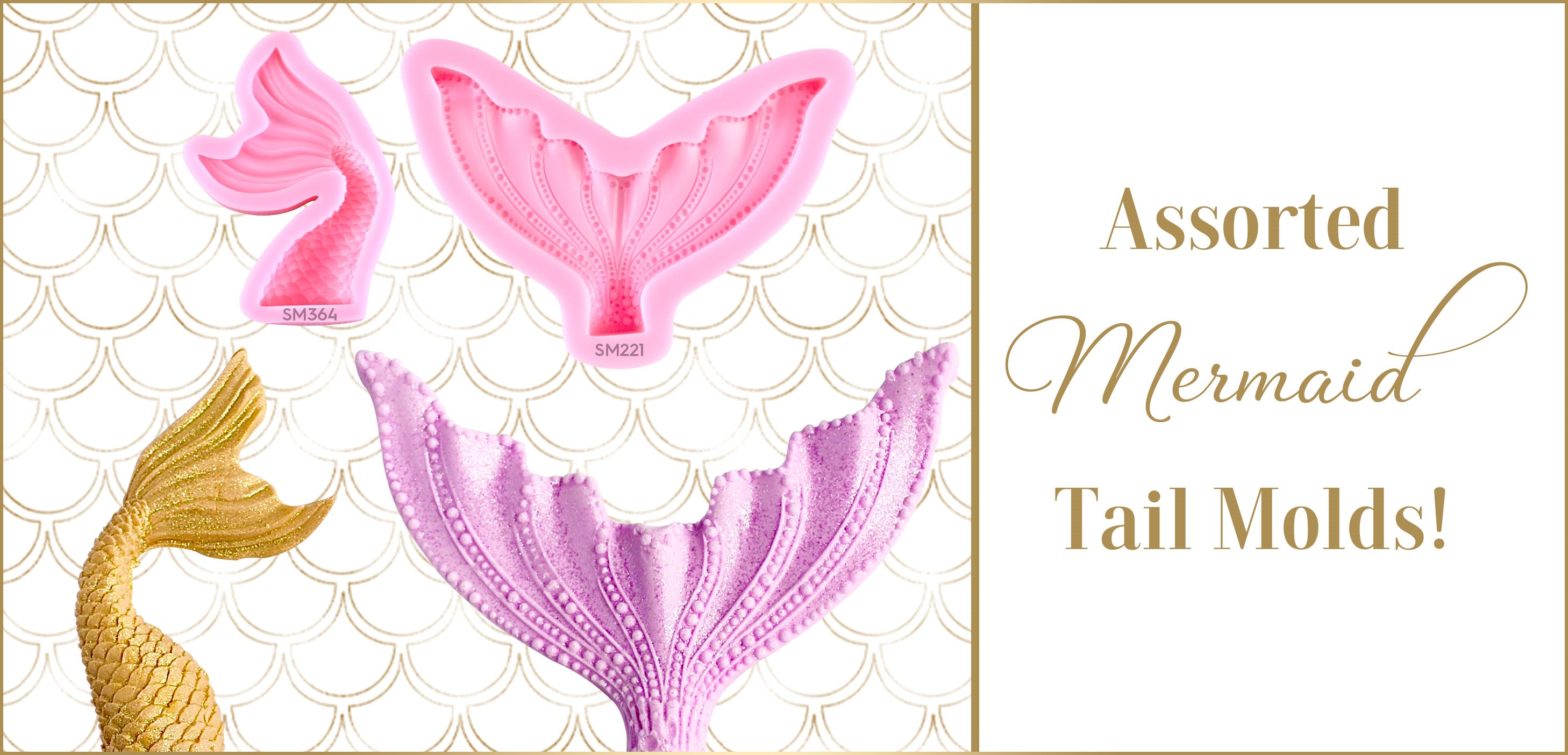 Mermaid Tail Silicone Mold Wavy Long Wide